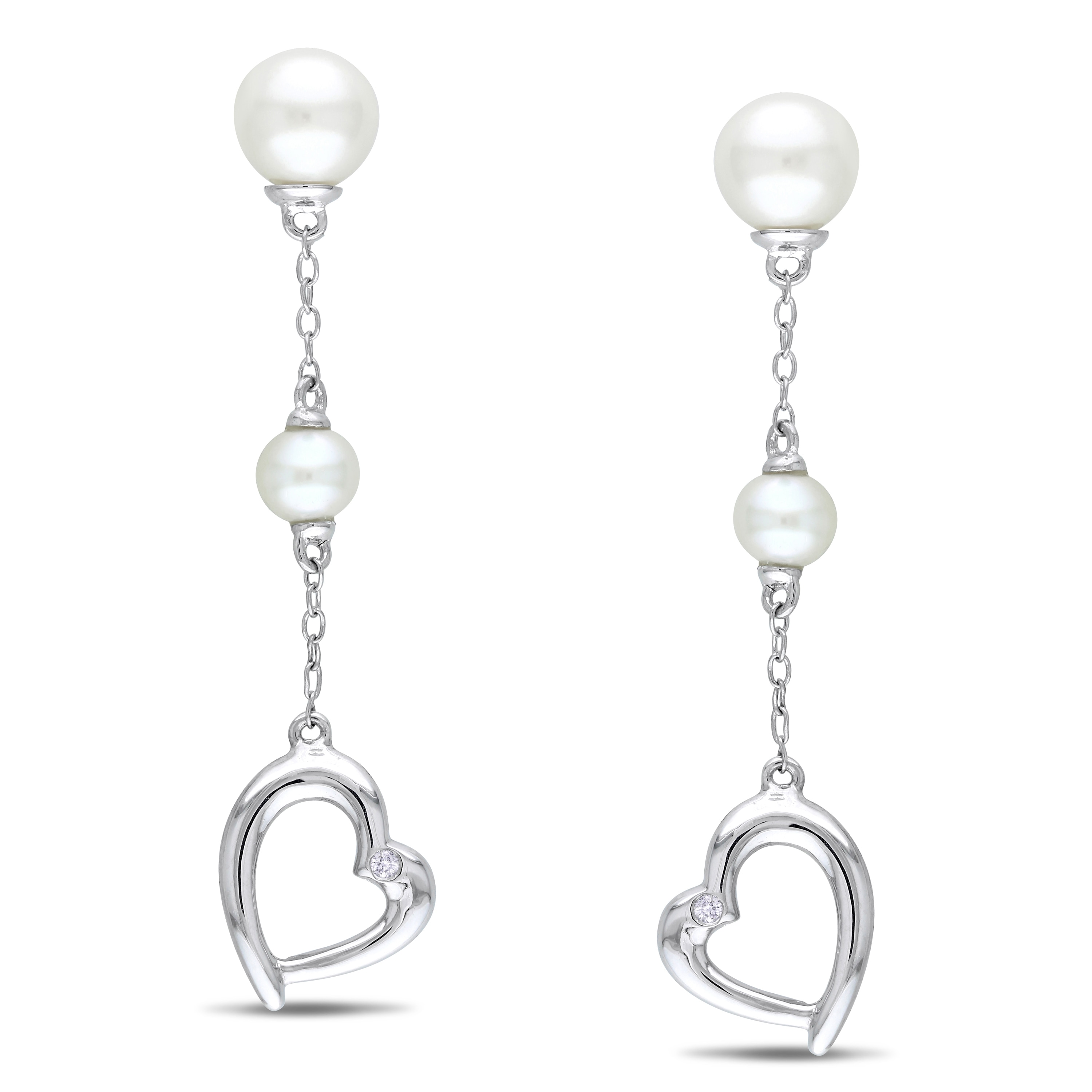 Miadora Sterling Silver FW Pearl and Diamond Accent Earrings (4-7 mm)