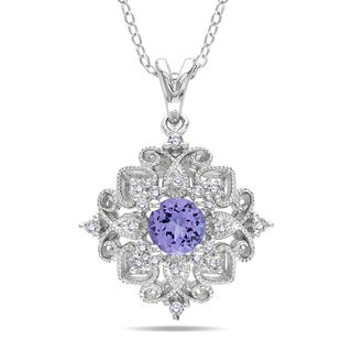 Miadora Sterling Silver Tanzanite and 1/6ct TDW Diamond Necklace (H-I,I3)