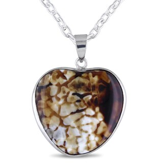 Miadora Silvertone Animal Print Agate Heart Shape Necklace