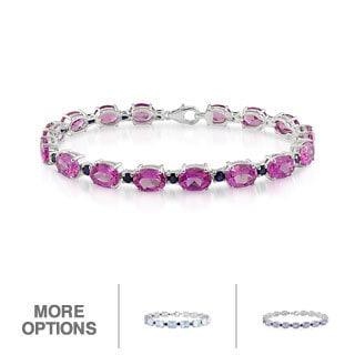 Miadora Sterling Silver Gemstone and Blue Sapphire Bracelet