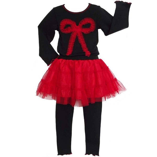 AnnLoren Girls Holiday Red Tutu Skirted Legging and Shirt Set