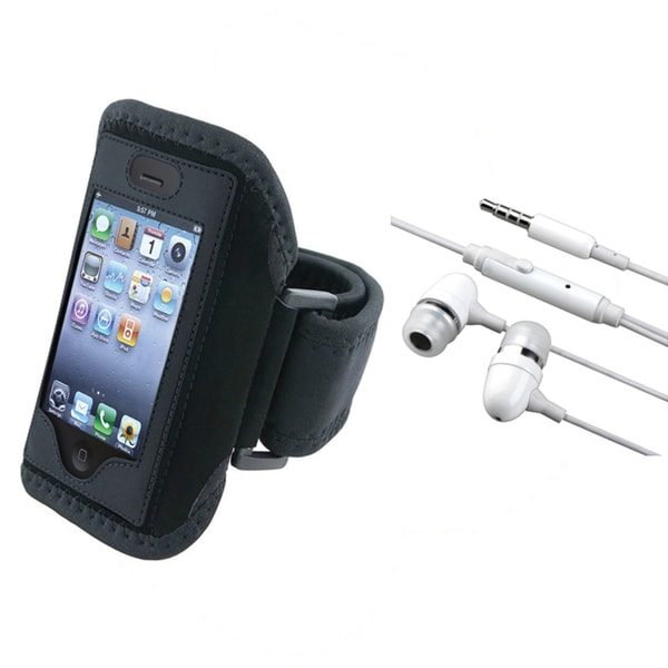 BasAcc White Headset/ Black Armband for Apple® iPhone 2/ 3/ 4
