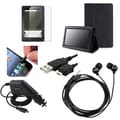 BasAcc Black Leather Case/Screen Protector/Charger/Headset for Amazon Kindle Fire