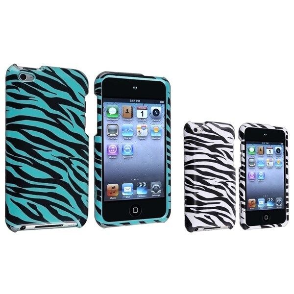 INSTEN White/ Blue Zebra iPod Case Cover for Apple iPod touch 4th Generation