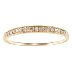 10k Yellow Gold 1/6ct TDW Diamond Milligrain Band (G-H, I1-I2)
