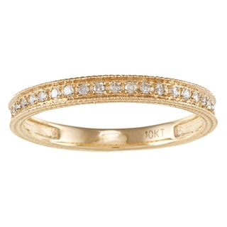 10k Yellow Gold 1/6ct TDW Engraved Diamond Band (G-H, I1-I2)