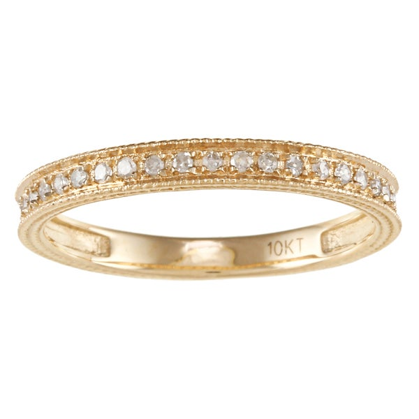 10k Yellow Gold 1/6ct TDW Engraved Diamond Band (G-H, I1-I2)