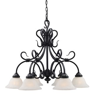 Landmark Lighting Matte Black with Glass Buckingham 6-light Chandelier
