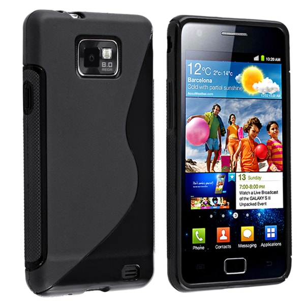 INSTEN Black TPU Rubber Skin Phone Case Cover for Samsung Galaxy S II/ S2 i9100