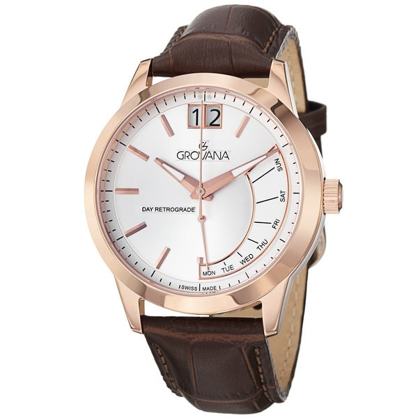 Grovana Men's 1722.1569 Silver Dial Brown Leather Strap Day Date Quartz Watch