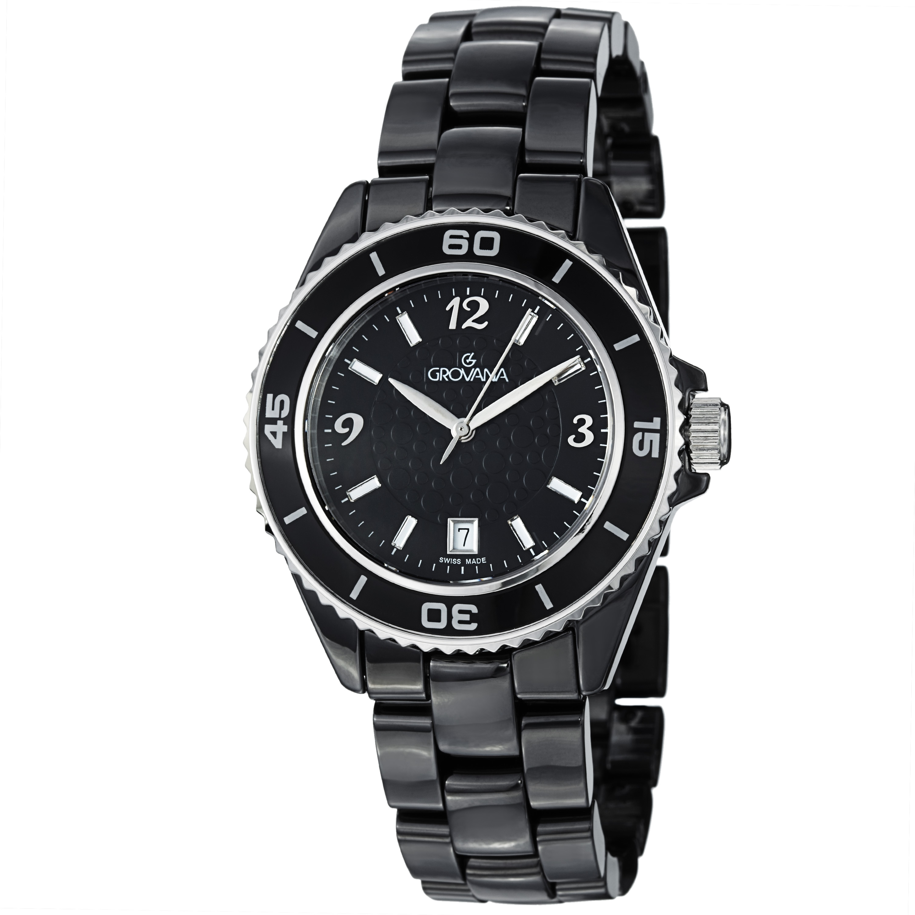 Grovana Men's Black Dial Black Ceramic Bracelet Quartz Watch