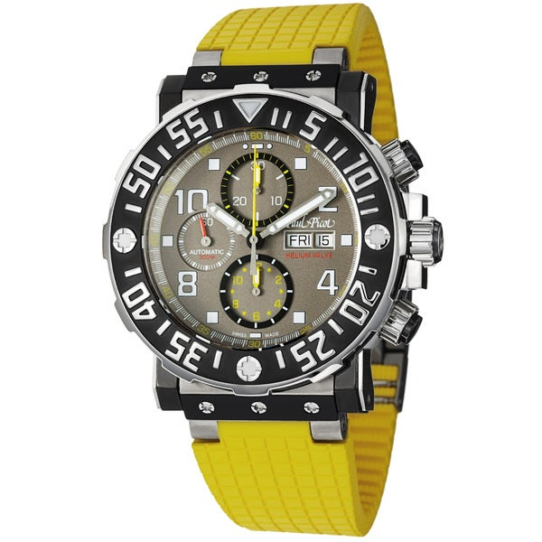 Paul Picot Men's 'C-Type' Grey Dial Yellow Rubber Strap Titanium Watch