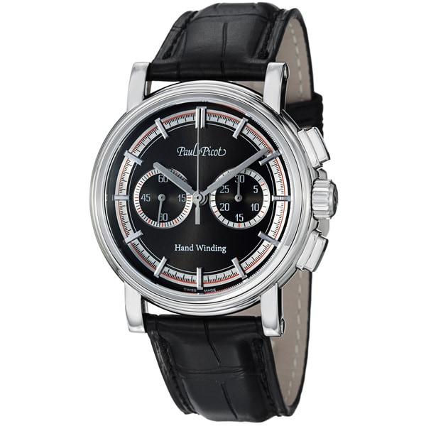Paul Picot Men's P3813.SG.1021.8601 'Technicum' Charcoal Dial Black Leather Strap Watch