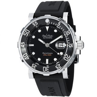 Paul Picot Men's 'Yachtman' Black Dial Black Rubber Strap Watch