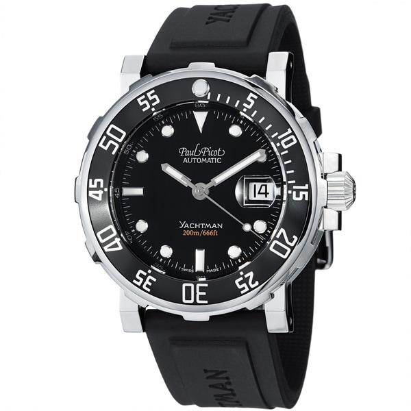 Paul Picot Men's 'Yachtman' Black Dial Black Rubber Strap Watch
