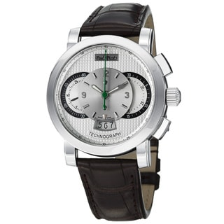 Paul Picot Men's 'Technograph' Silver Dial Brown Strap Automatic Watch