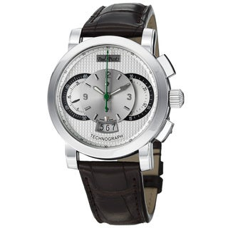 Paul Picot Men's P0334Q.SG.1232.7401 'Technograph' Silver Dial Brown Strap Automatic Watch