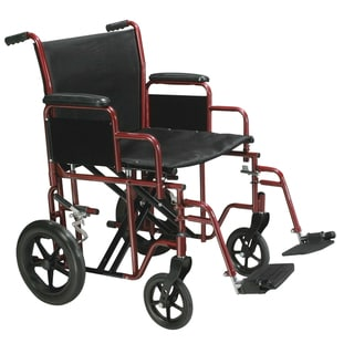 Drive Medical 22-inch Wide Red Bariatric Heavy-duty Transport Wheelchair with Swing-away Footrest