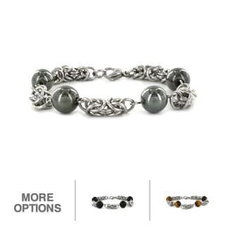 Elya Designs Stainless Steel Created Stone Bead Bracelet