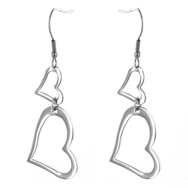 West Coast Jewelry Stainless Steel Open Heart Dangle Earrings