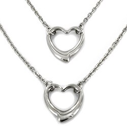 ELYA Stainless Steel Double Strand Open Heart Pendant Necklace