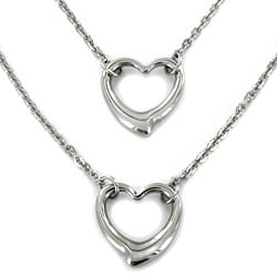Elya Designs Stainless Steel Double Strand Open Heart Pendant Necklace
