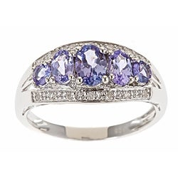 D'Yach Sterling Silver Tanzanite and 1/10ct TDW Diamond Ring (G-H, I1-I2)