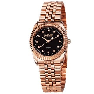 August Steiner Women's Diamond and Stainless-Steel Bracelet Watch with Black Enamel Dial