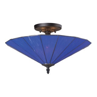 Landmark Lighting Lumino Electric Blue and Matte Black 3-light Semi-flush