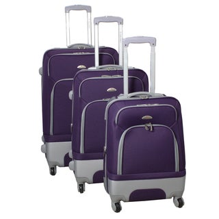 Mobility Dejuno Purple 3-piece Expandable Spinner Luggage Set
