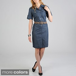Sharagano Women's Denim Shirt Dress with Fashion Belt