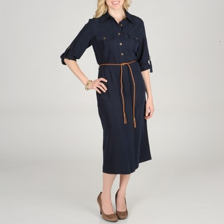 Sharagano Women's Shirt Dress with Rope Belt