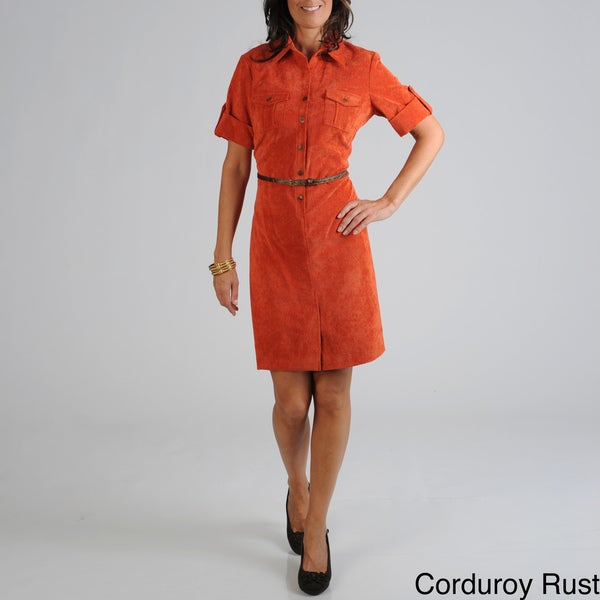 Sharagano Women's Corduroy Shirt Dress
