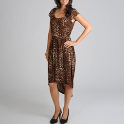 Sharagano Women's Leopard High-low Hem Dress