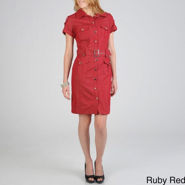 Sharagano Women's Denim Shirt Dress