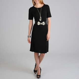 Sharagano Women's Black Fashion Belt Knit Dress