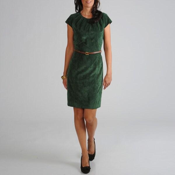 Sharagano Women's Corduroy Belted Dress