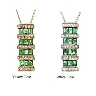D'yach 14k Gold Zambian Emerald and Diamond Necklace