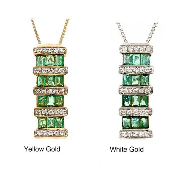 Anika and August 14k Gold Zambian Emerald and Diamond Necklace