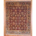 Indo Hand-knotted Mahal 8' x 10' Green/ Burgundy Wool Rug (India)