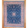 Sino Hand-knotted Sarouk Green/ Peach Wool/ Silk Rug (8' x 10')