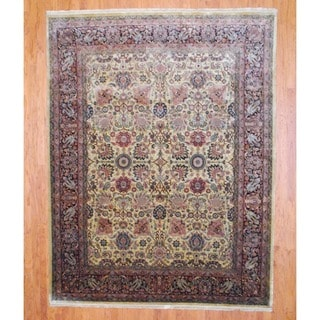 Indo Hand-knotted Farahan Beige/ Brown Wool Rug (8' x 10')