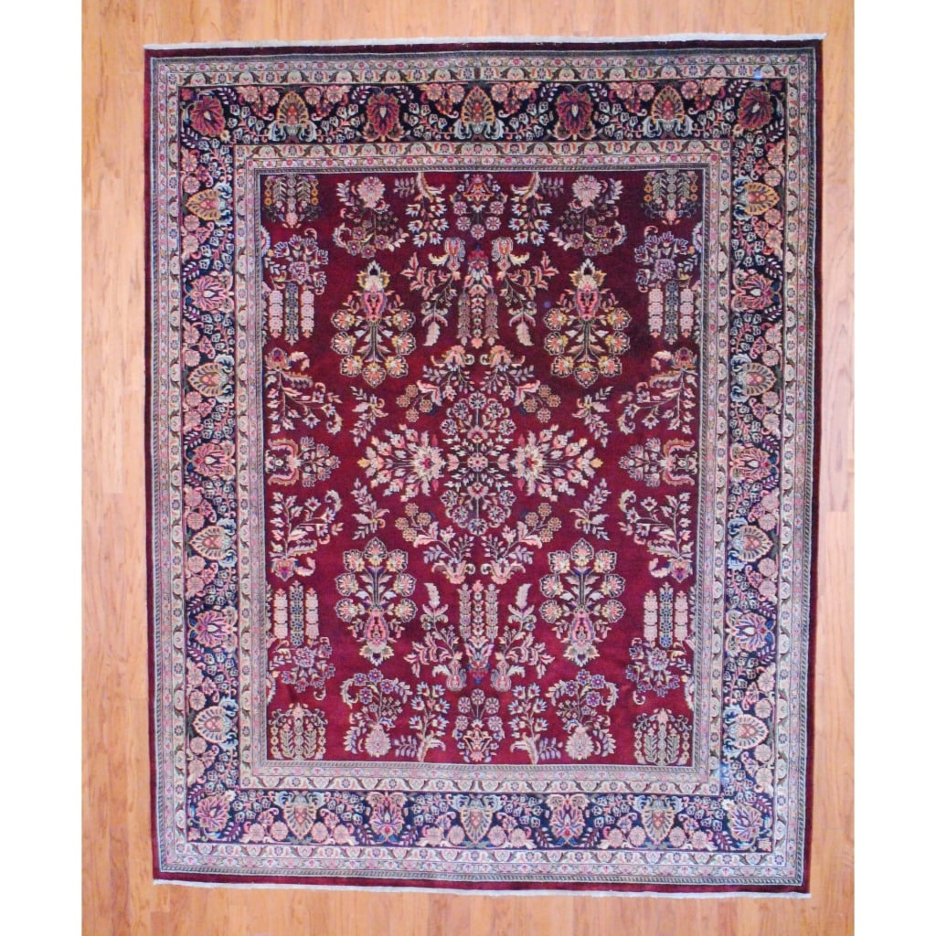 Indo Hand-Knotted Sarouk Burgundy/Black Wool Area Rug (8' x 10')