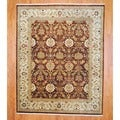 Indo Hand-knotted Mahal Brown/ Ivory Wool Rug (8' x 10')