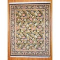 Pakistani Hand-knotted Aubusson Black/ Ivory Wool/ Silk Rug (8' x 10'7)
