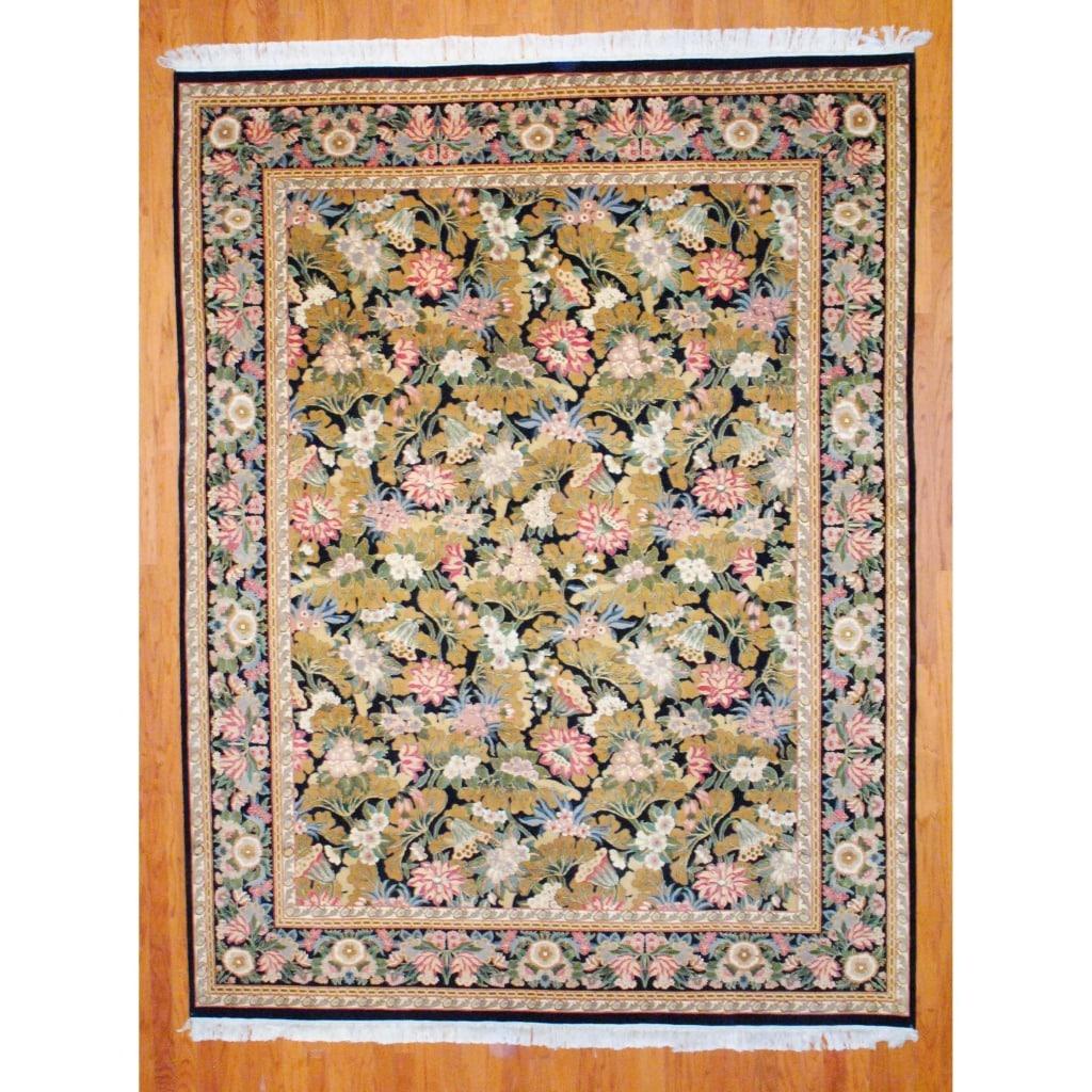 Pakistani Hand-knotted Aubusson Black/ Ivory Wool/ Silk Rug (8' x 10'7)