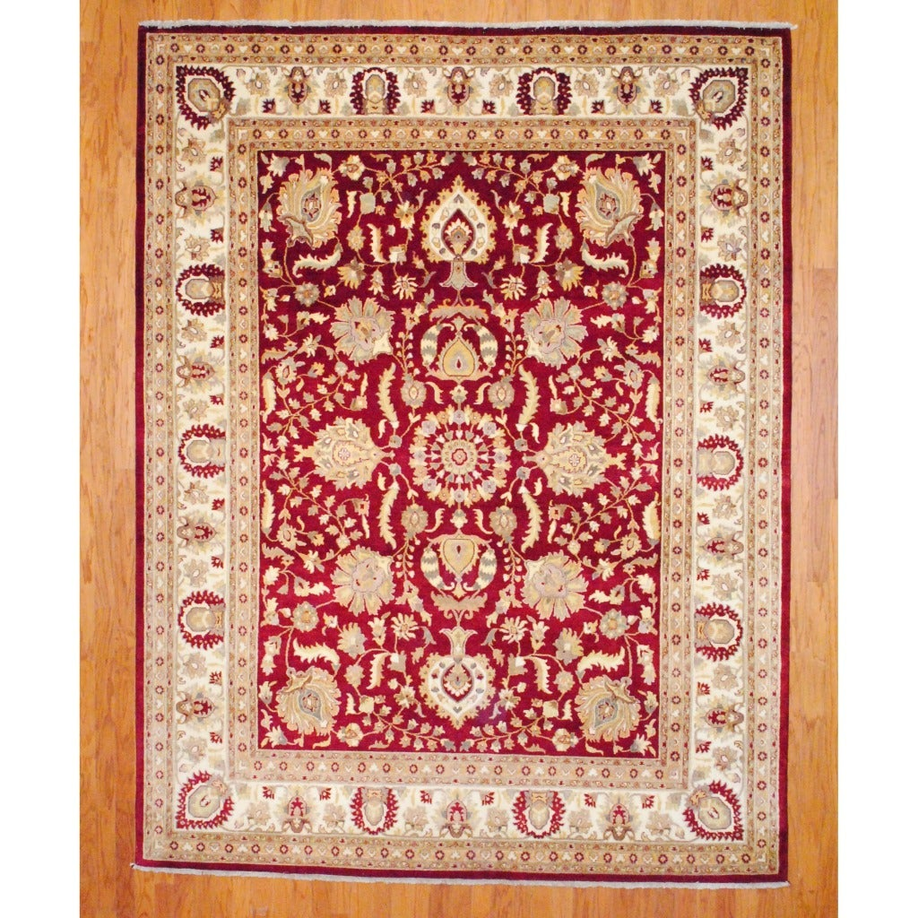 Indo Hand-Knotted Traditional Mahal Burgundy/Ivory Wool Rug