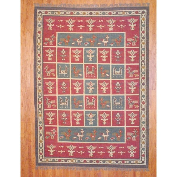 Indo Hand-knotted Kilim Rust/ Olive Wool Rug (8' x 11'4)