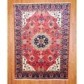 Persian Hand-knotted Heriz Red/ Navy Wool Rug (7'6 x 10'4)