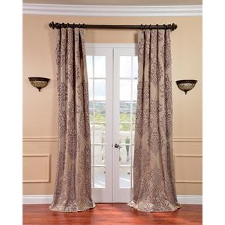 Minerva Taupe/ Plum Faux Silk Jacquard Curtains